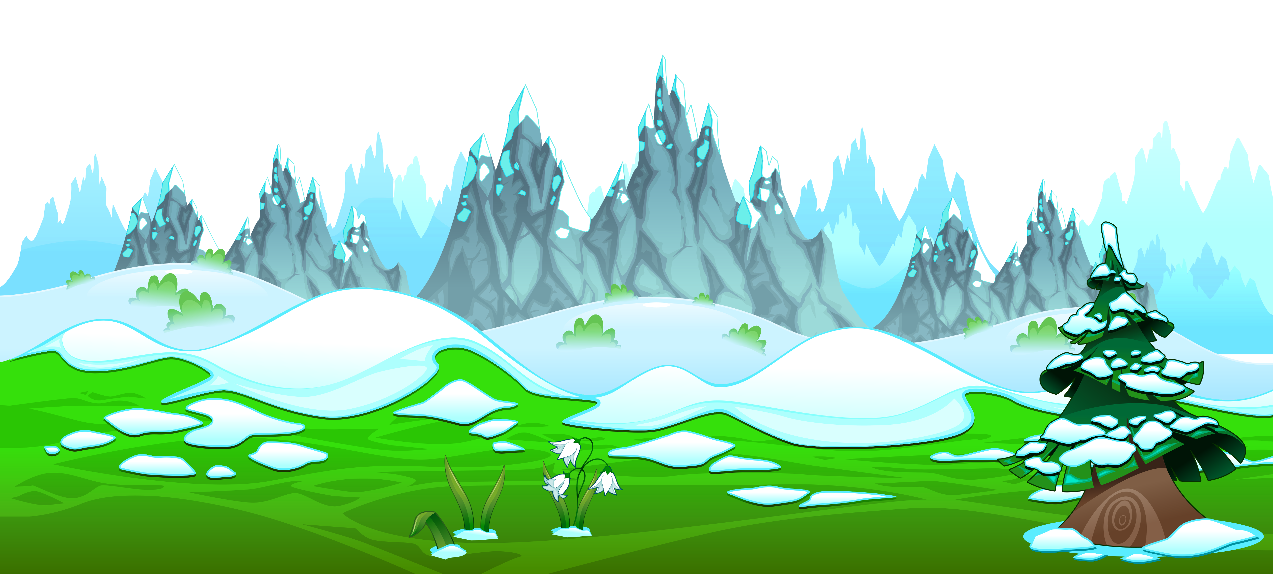 Early Spring With Icy Mountains Ground Png