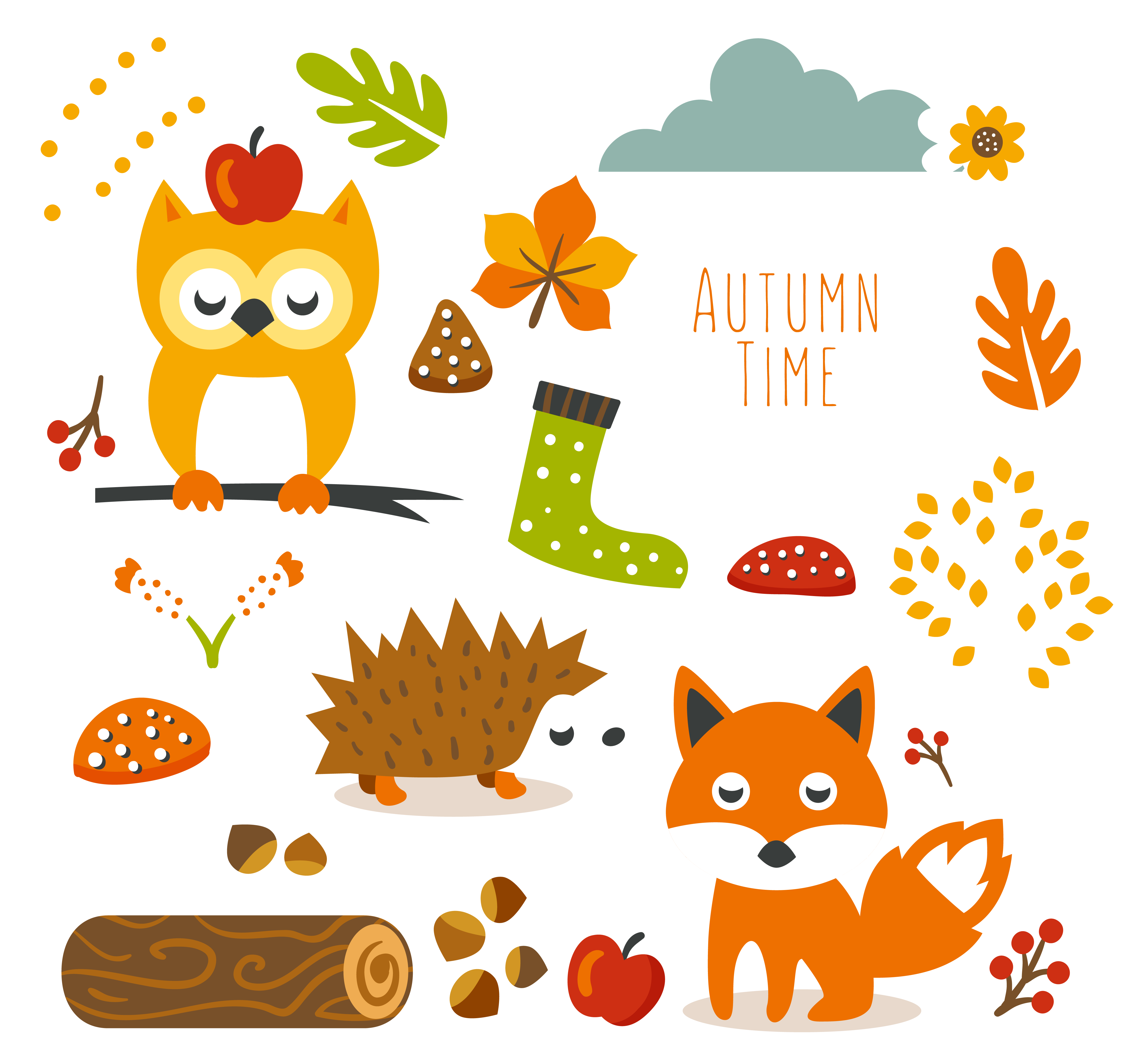 Free Cute Autumn Animal Png And Planner Stickers