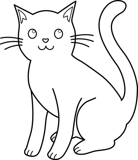 White Cat Png Kitty Line For Coloring Love
