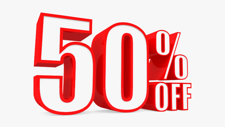 50% Off Red And White png