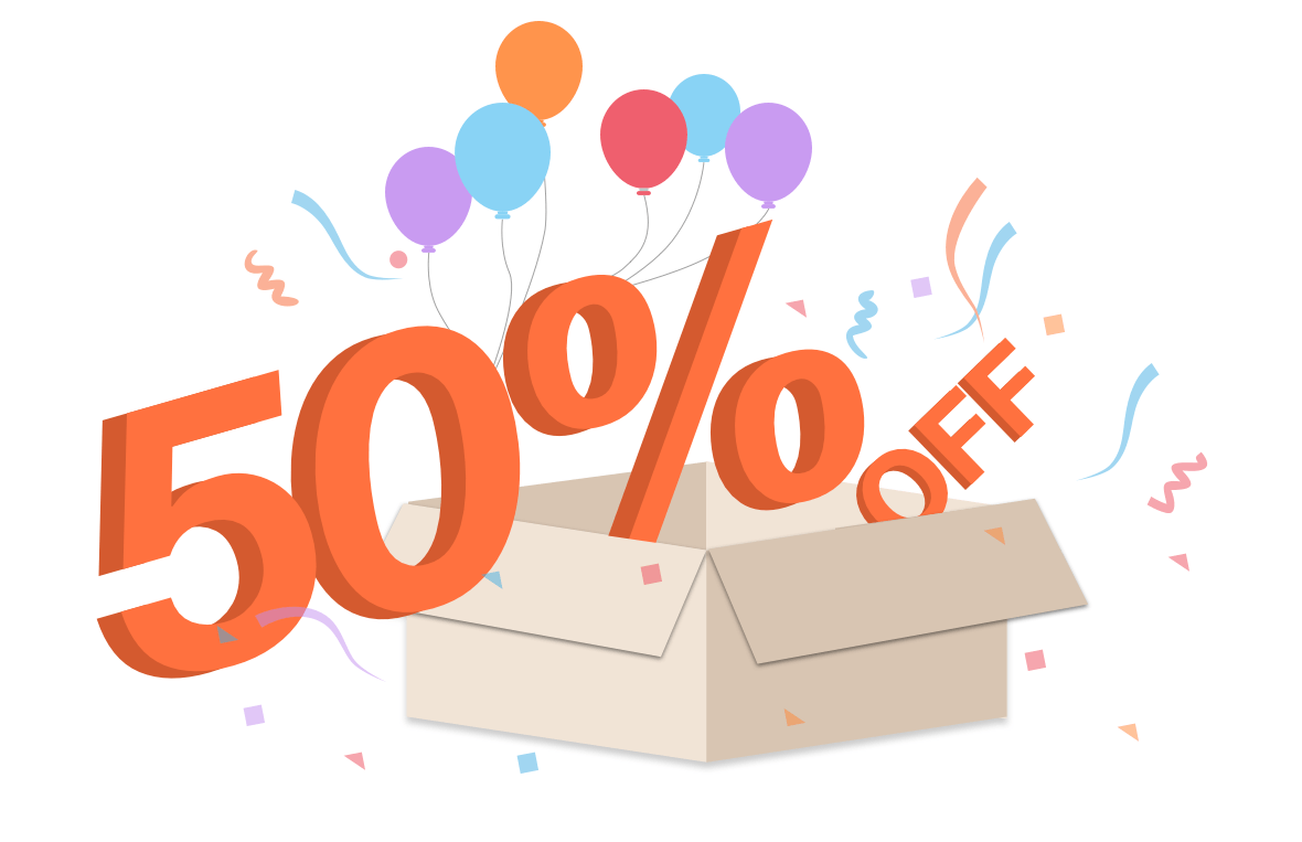50% Off With Box And Baloon png
