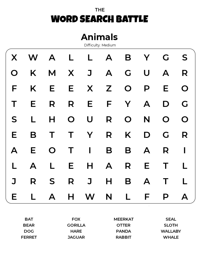 Animal Word Search Printable Difficulty Medium png