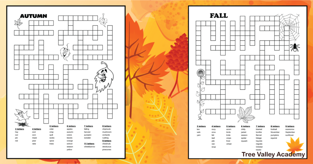 Autumn And Fall Word Search Printable png