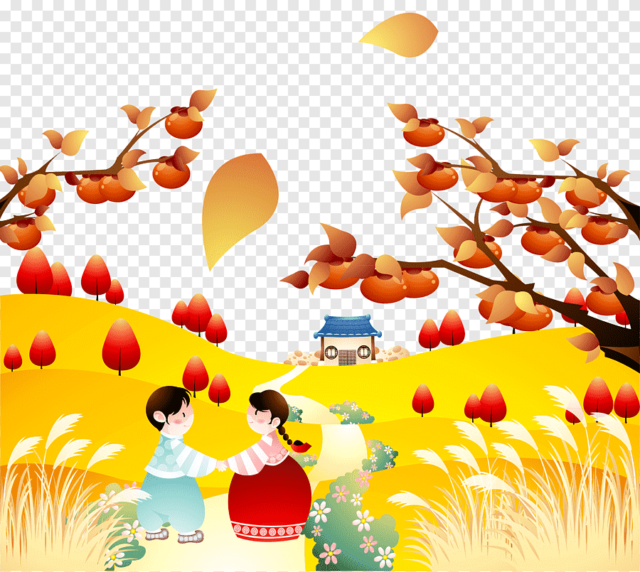 Autumn Cartoon Girl And Boy Free Png
