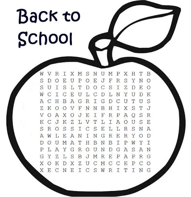 Back to School Word Search Printable Apple png
