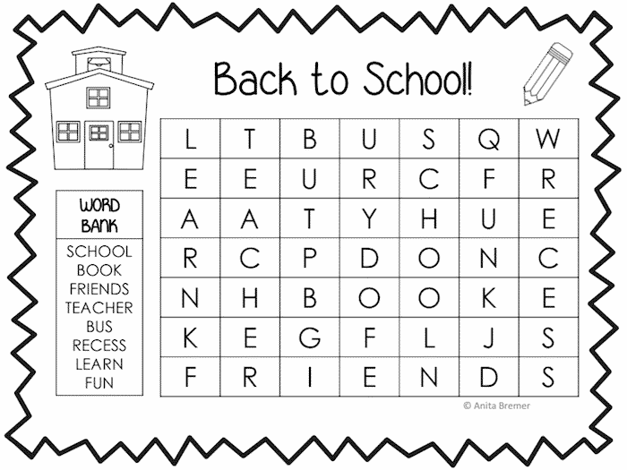 Back to School Word Search Printable Black And White Free Idea png