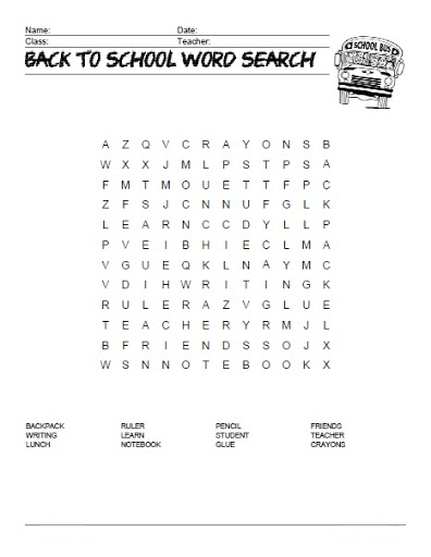 Back to School Word Search Printable Bus png