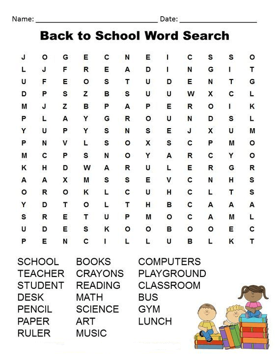 Back to School Word Search Printable Free To Use png
