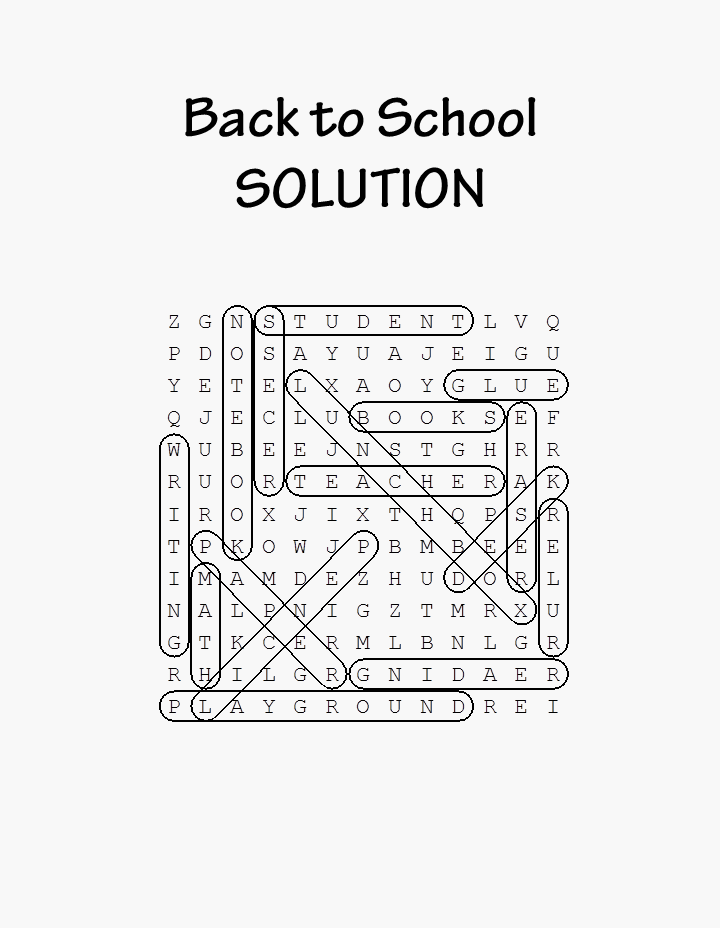 Back to School Word Search Printable Solution png