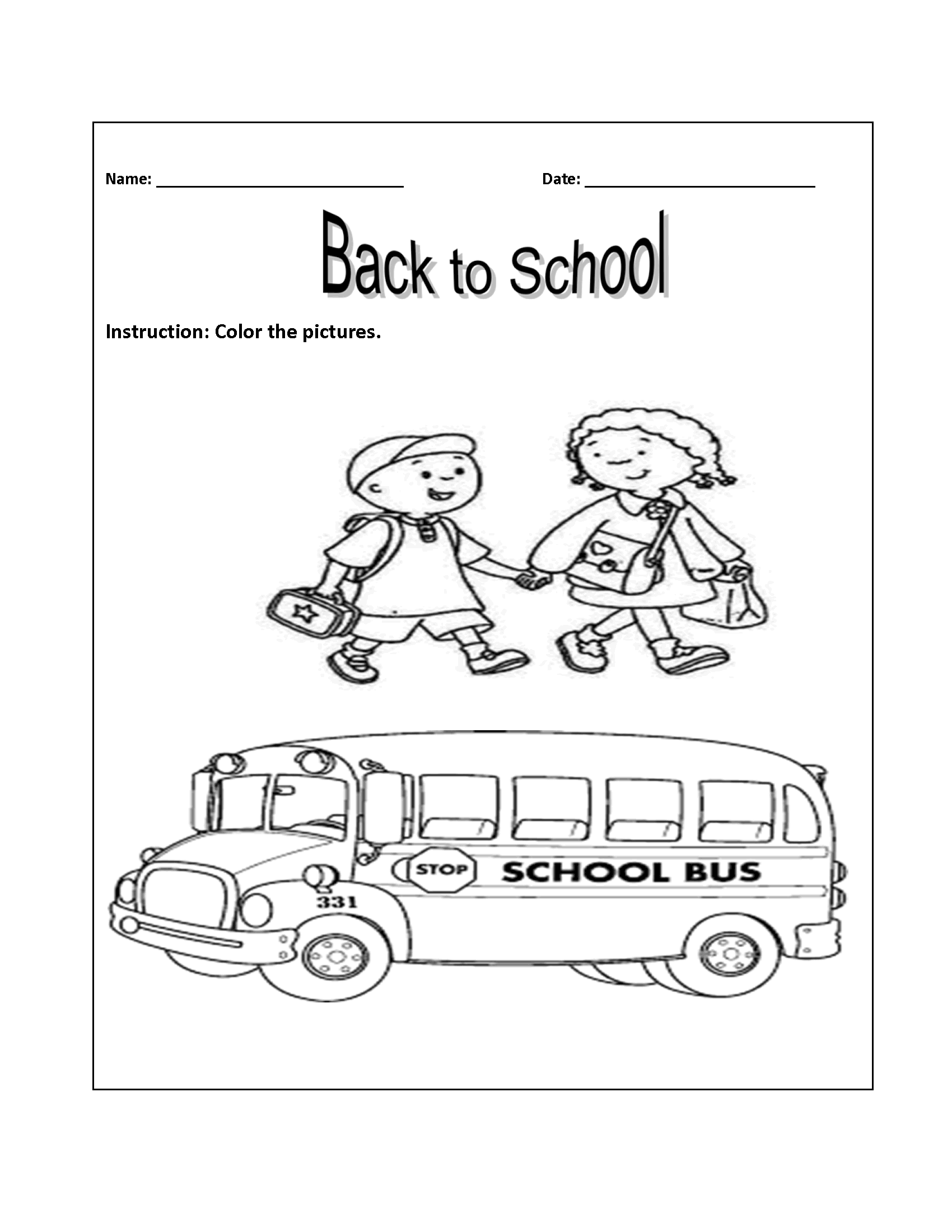 Banner Back to School Word Search Printable Two Child And Bus png