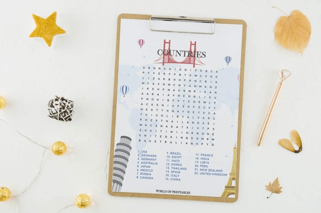 Countries Word Search Printable At Vector png