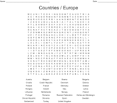Countries Word Search Printable Europe png