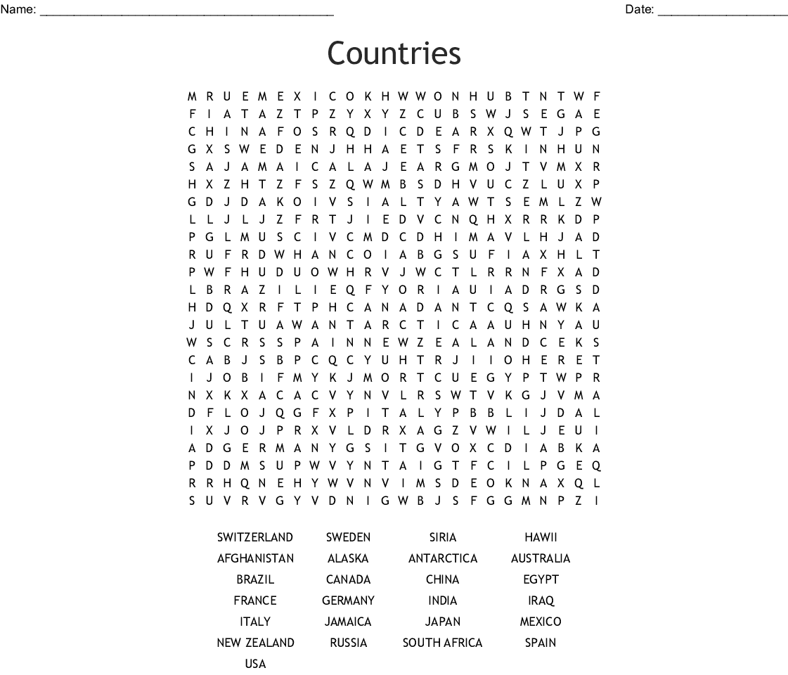 Countries Word Search Printable Free Design png