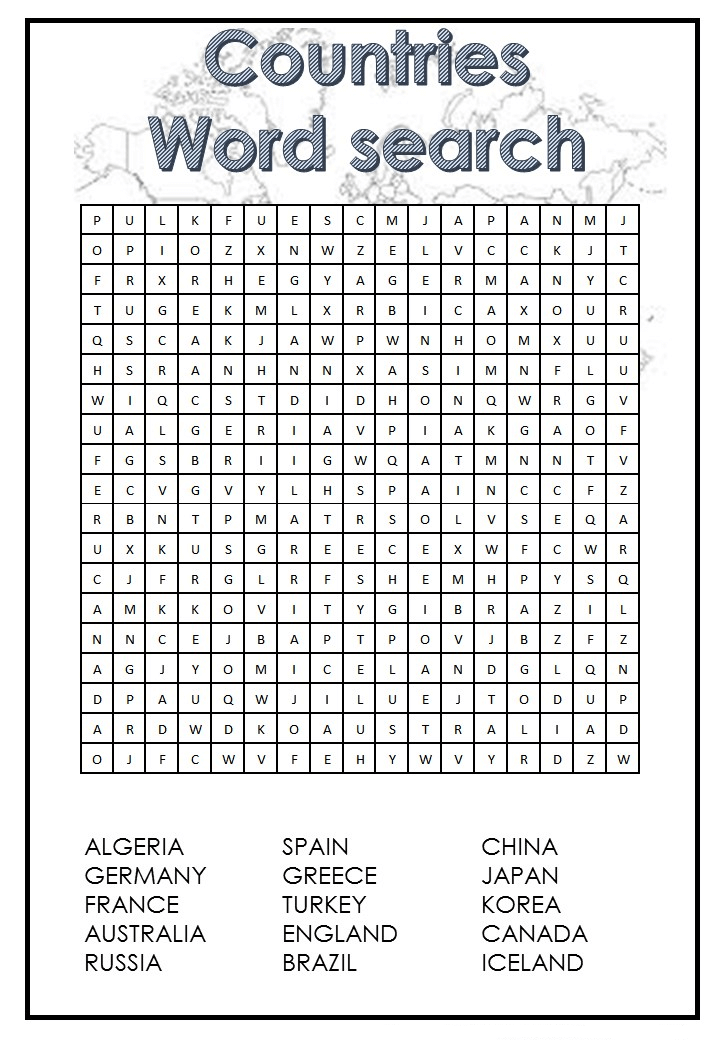Countries Word Search Printable Free Download png