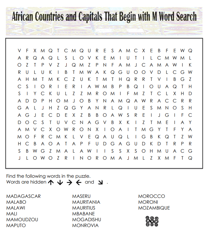 Countries Word Search Printable Free Pictures png