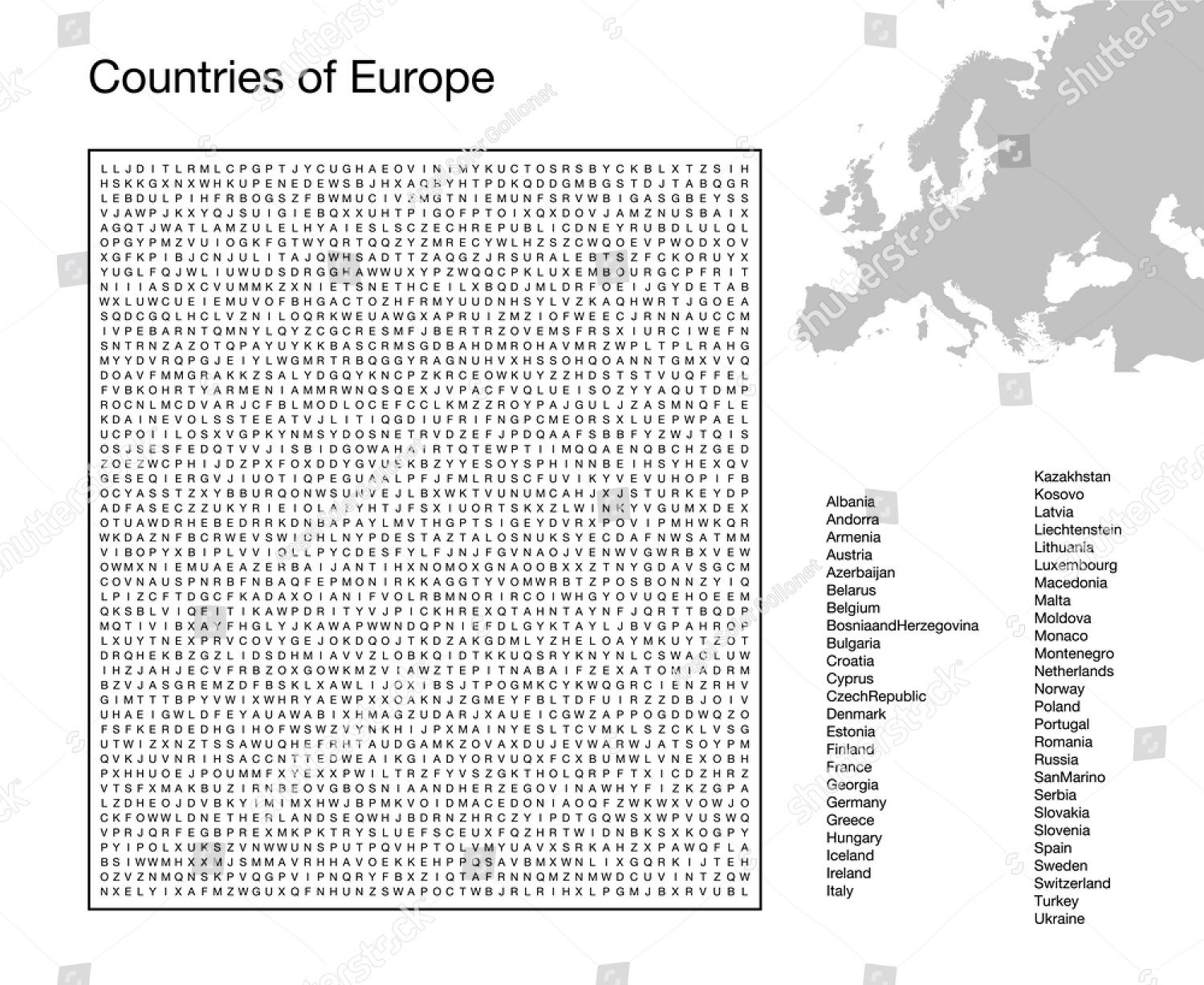 Countries Word Search Printable Free Vector png