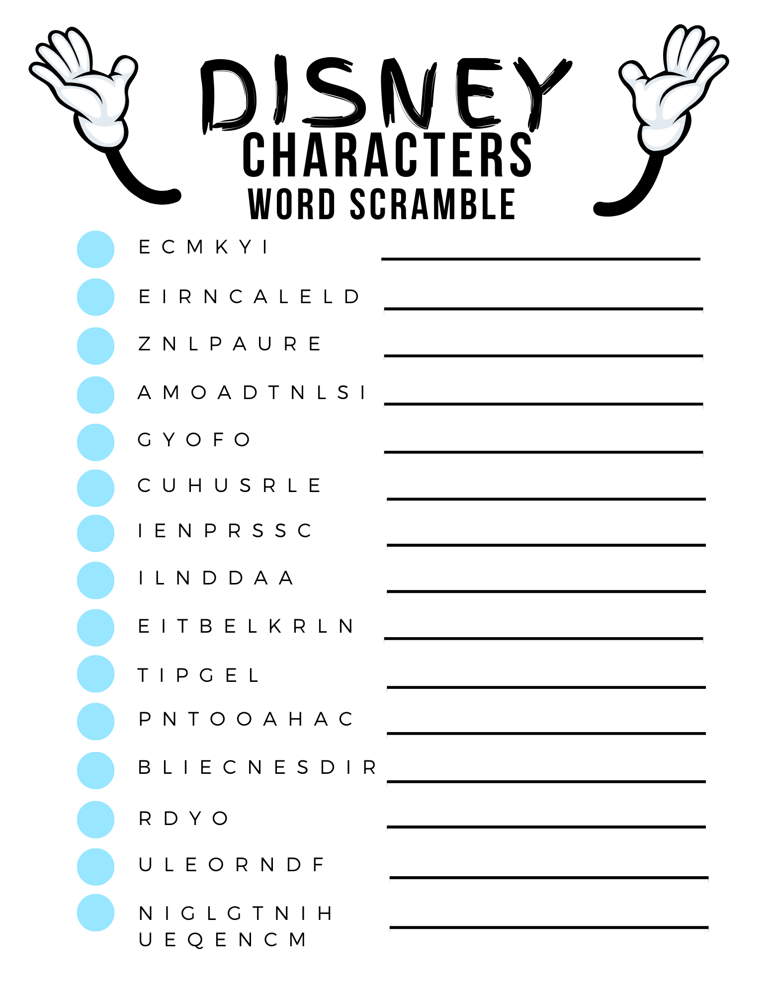 Disney Word Search Printable Characters Free Idea png