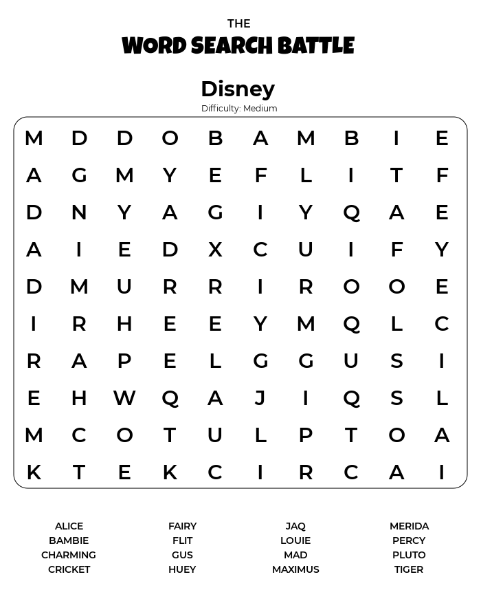 Disney Word Search Printable Difficulty Medium png