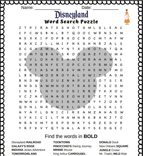 Disney Word Search Printable Puzzle png