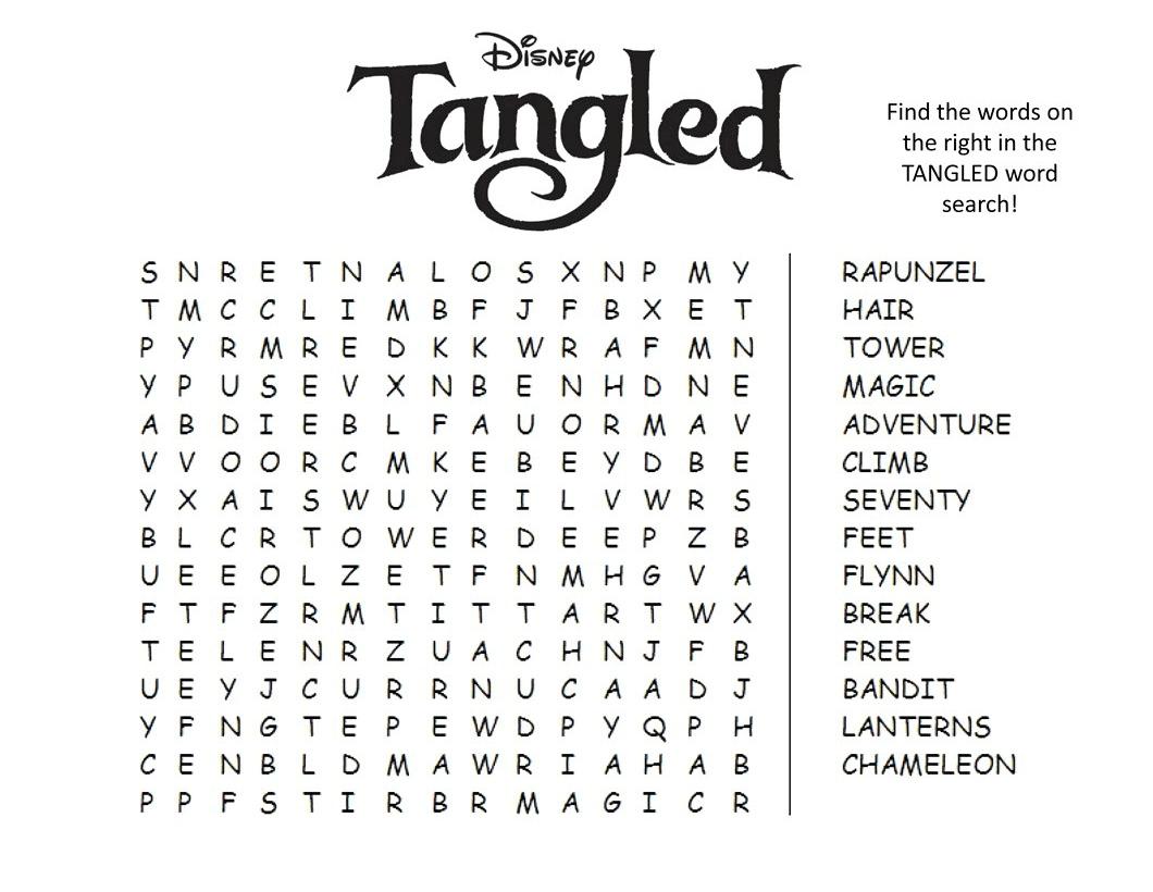 Disney Word Search Printable Tangled png
