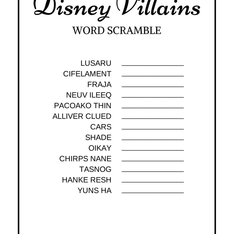 Disney Word Search Printable Villains png