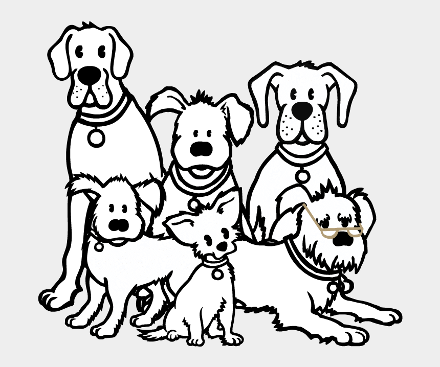 Dog Group Black And White Png