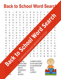 Download Back to School Word Search Printable Images png