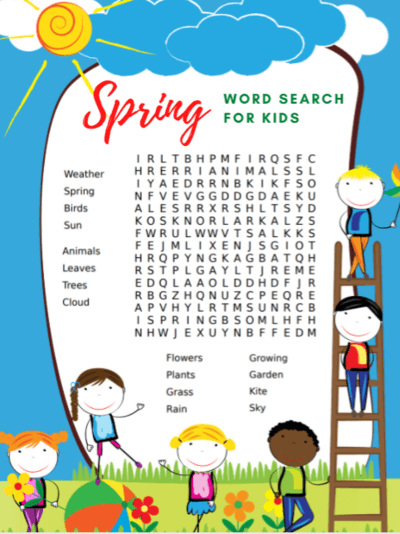 Download Spring Word Search Printable png
