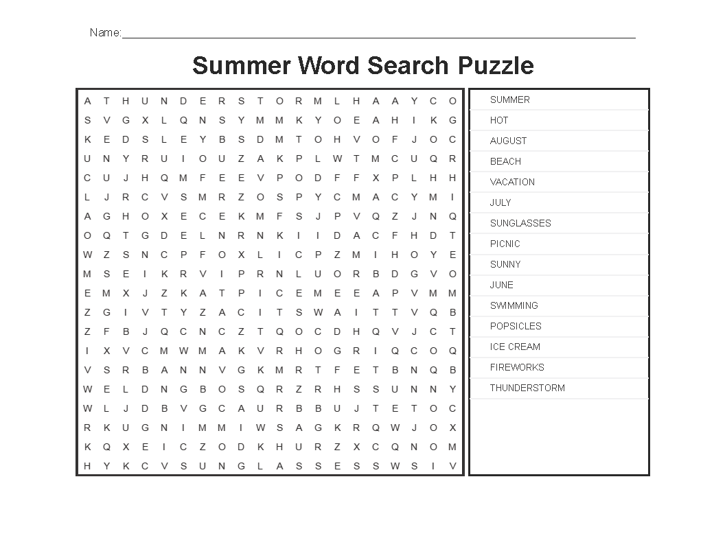 Download Summer Word Search Printable Free Idea png