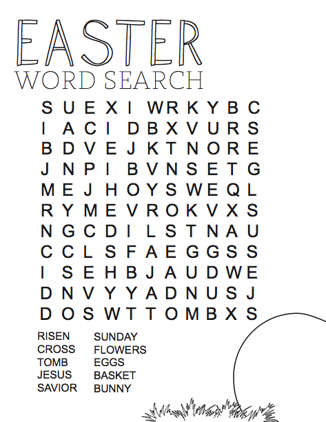 Easter Word Search Printable At Vector png