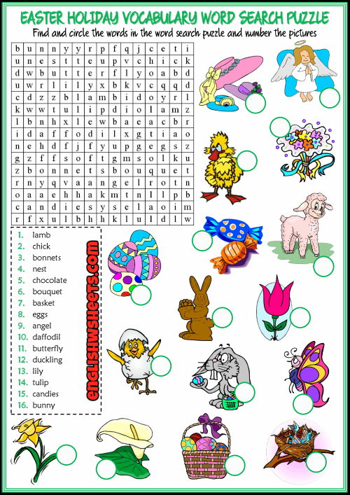 Easter Word Search Printable Holiday Vocabulary png