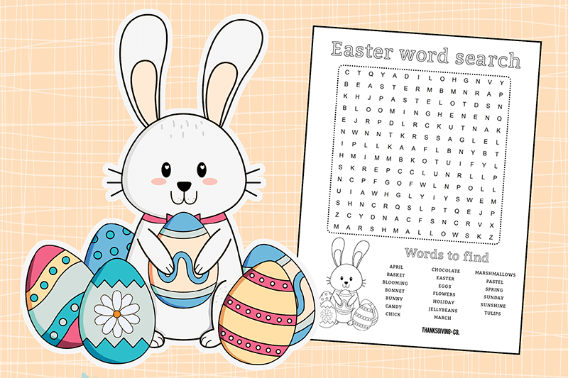 Easter Word Search Printable With Fun Rabbit png