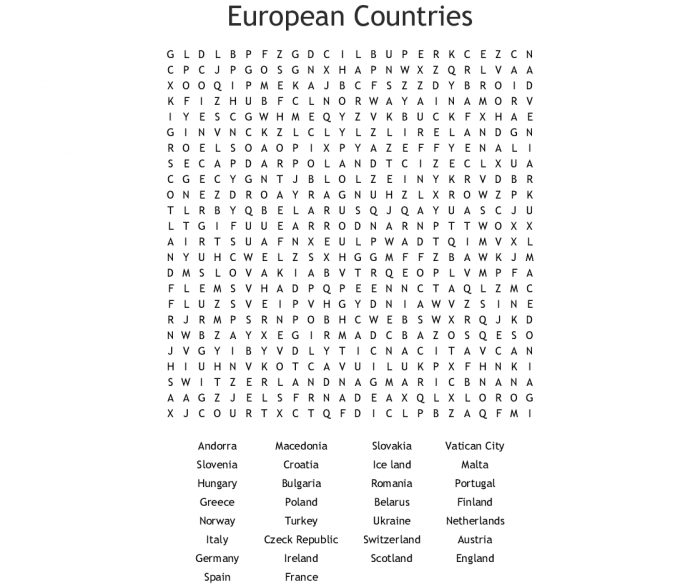 European Countries Word Search Printable png