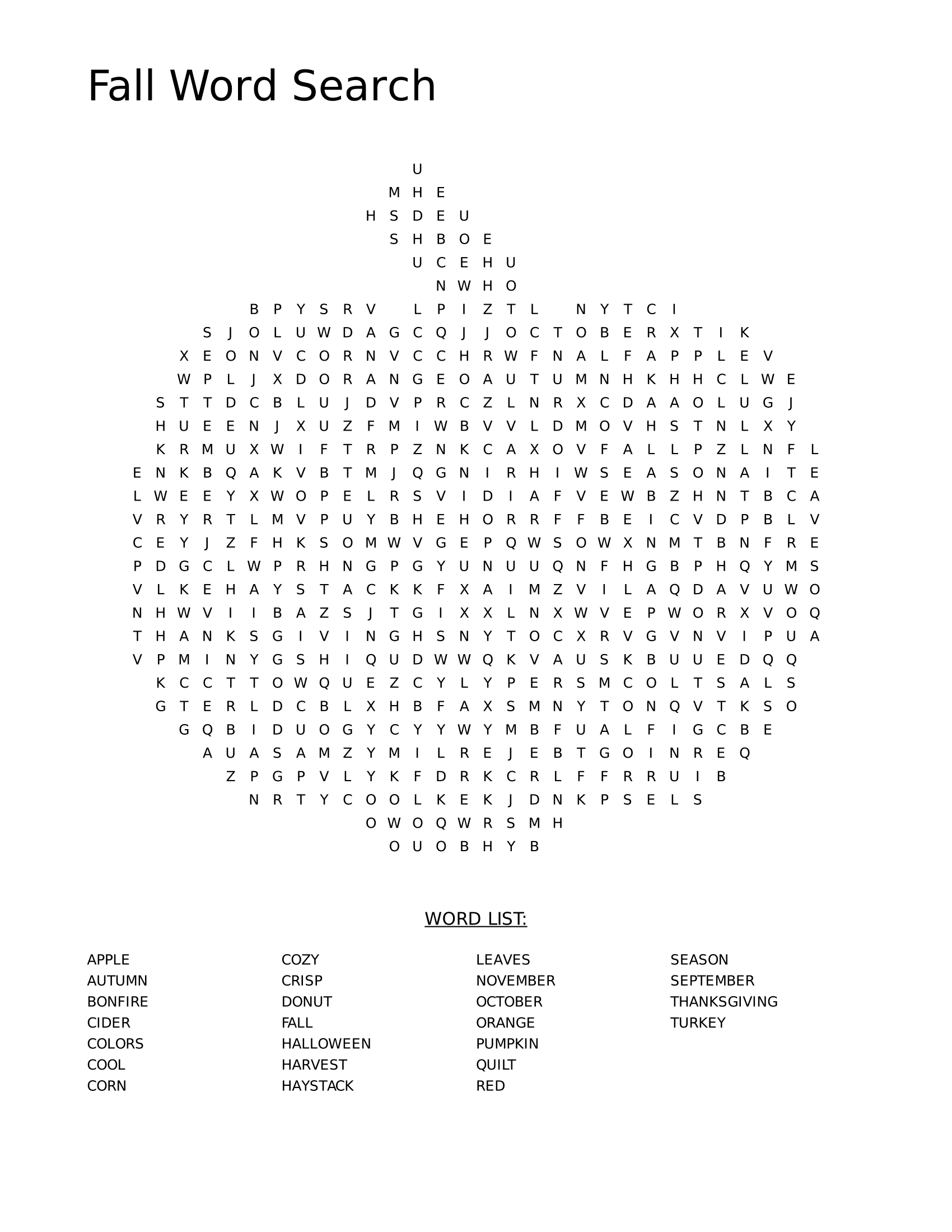 Fall Word Search Printable Apple png