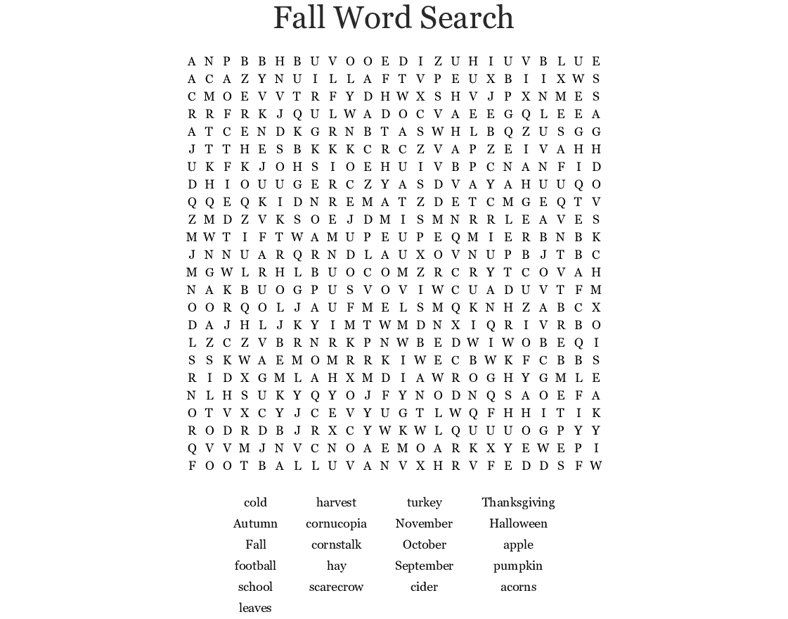 Fall Word Search Printable At Vector png