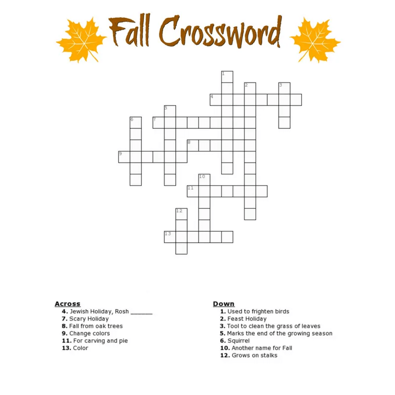Fall Word Search Printable Crossword png