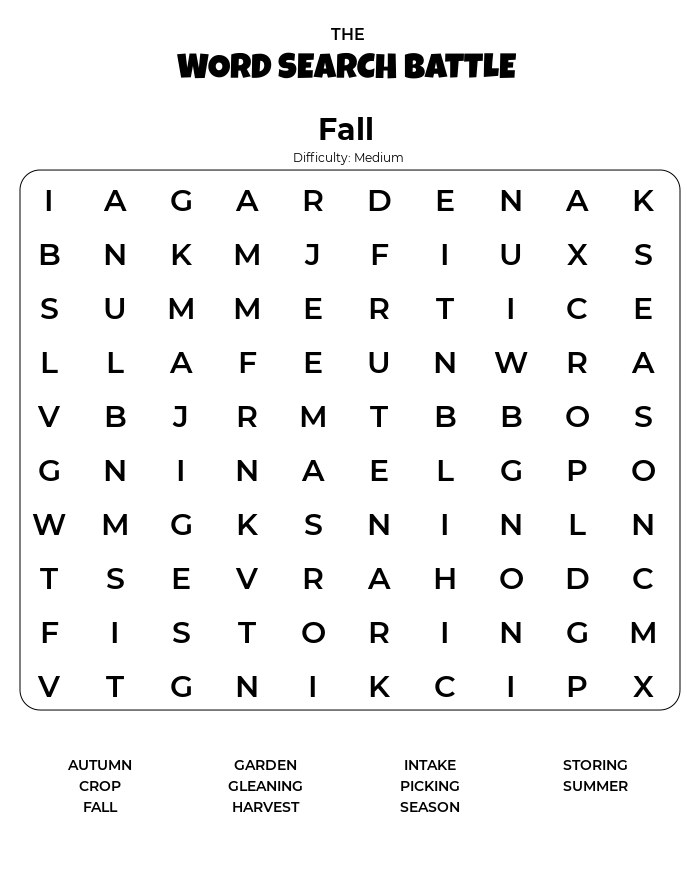 Fall Word Search Printable Difficulty Medium png