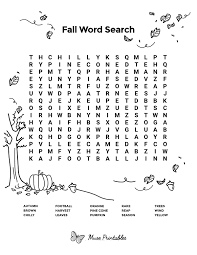 Fall Word Search Printable Free Design png