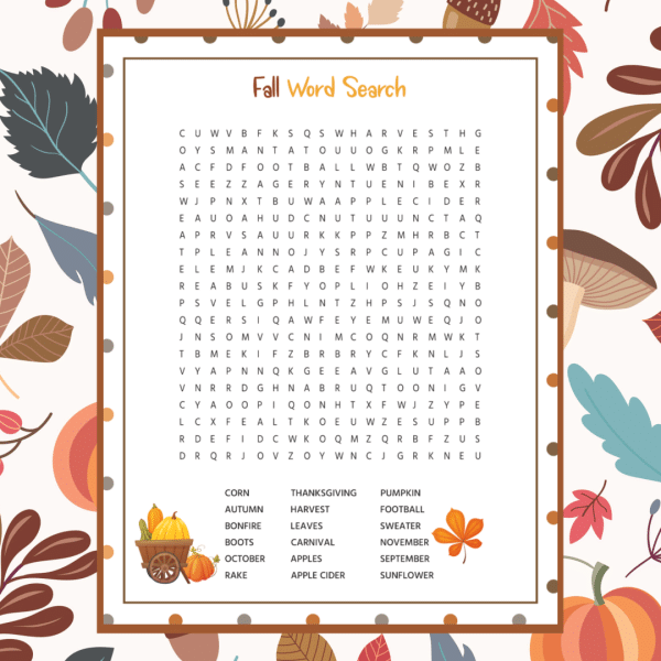 Fall Word Search Printable Free Download png