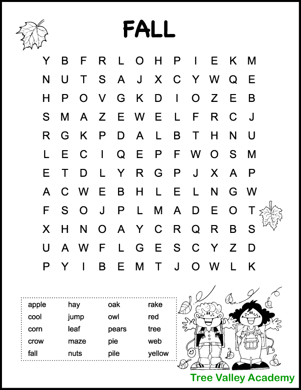 Fall Word Search Printable Free Graphics png