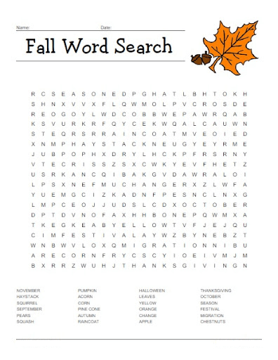 Fall Word Search Printable Free To Use png