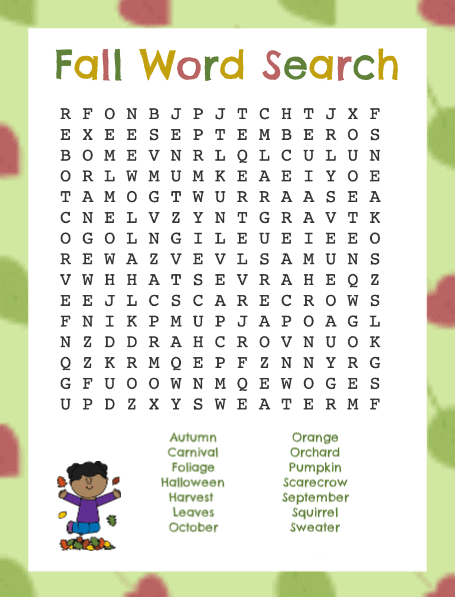 Fall Word Search Printable Funny Child png