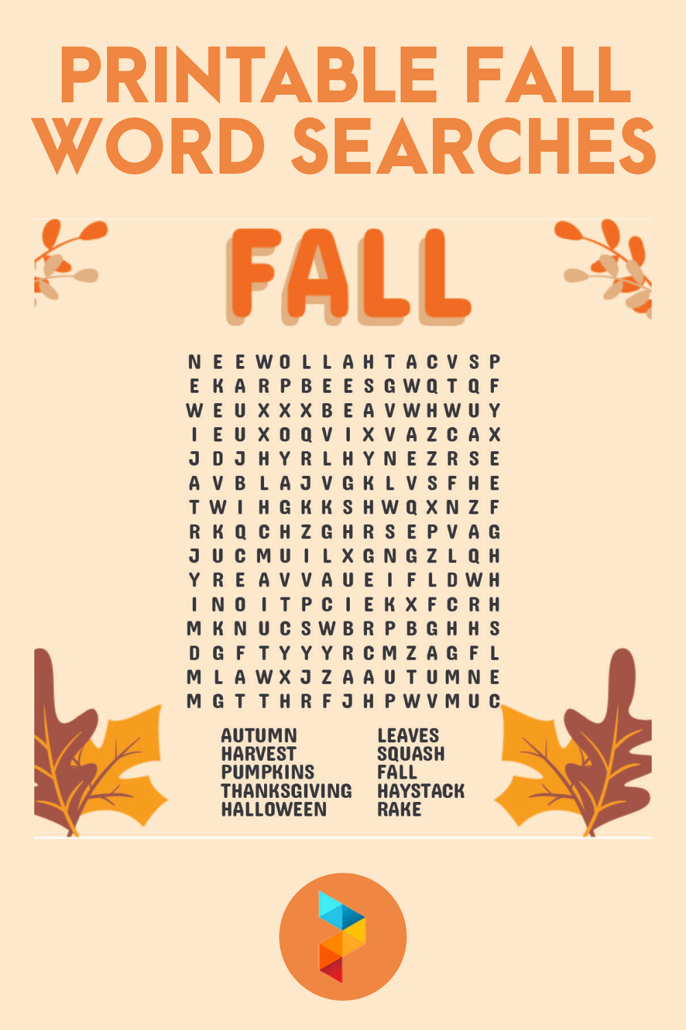 Fall Word Search Printable Light png