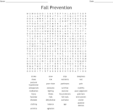 Fall Word Search Printable Prevention png