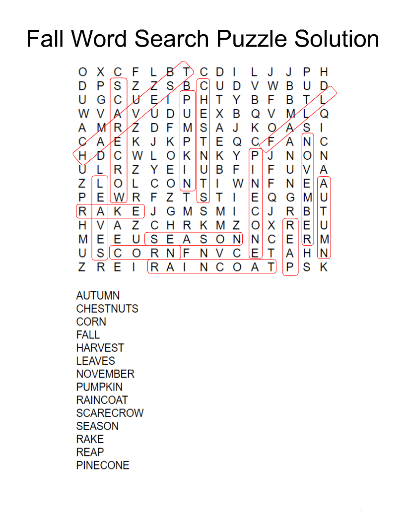 Fall Word Search Printable Puzzle Solution png