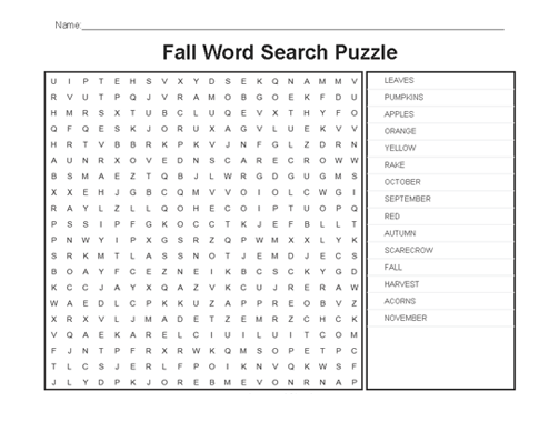 Fall Word Search Printable Puzzle png
