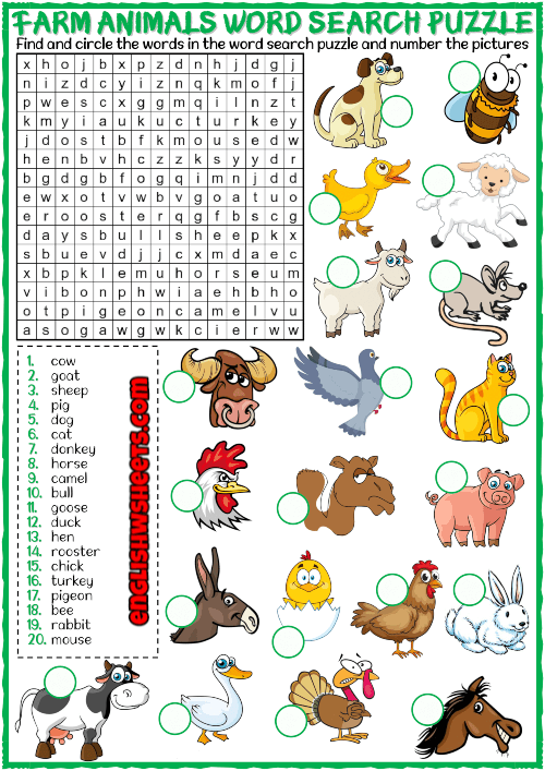 Find Animal Word Search Printable puzzle png