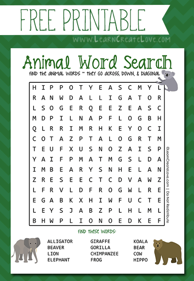 Find The Animal Word Search Printable png