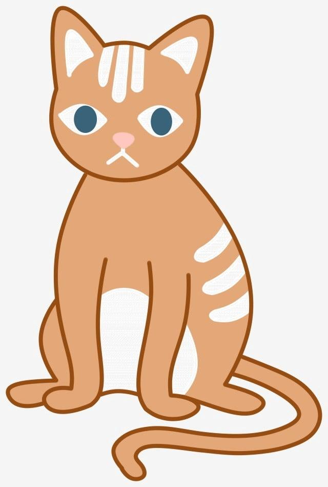 Flat Wind Cute Cat Animal Orange Png