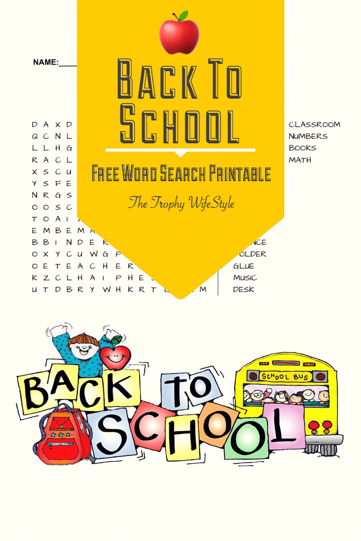 Free Back to School Word Search Printable At Vector png